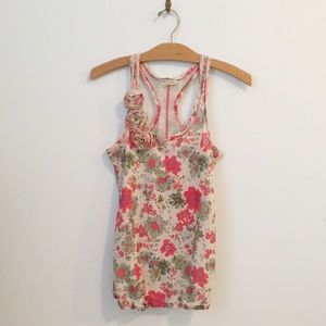 Pink-Red and Green Floral Racerback Tank Top